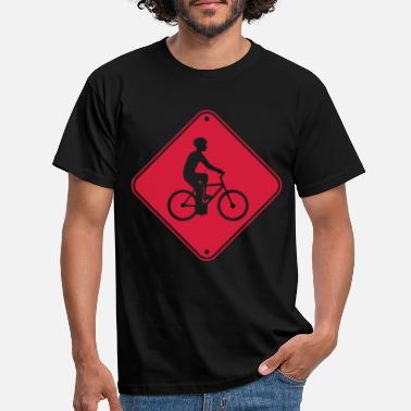 Clue beware bicycle sign sign caution zon - Men's T-Shirt