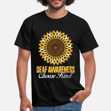 Zonnebloem Deaf Awareness Sunflower Kies Kind Yellow - Mannen T-shirt
