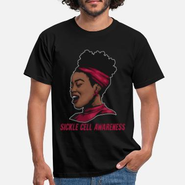 Sickle Sickle Cell Awareness Burgundy Ribbon Black Woman - Men's T-Shirt