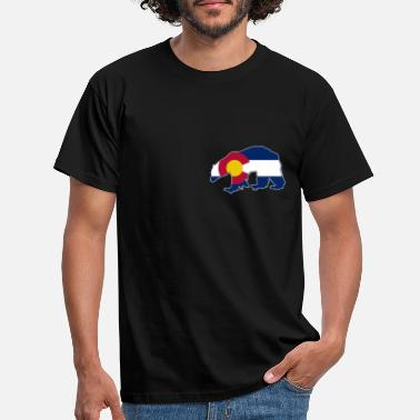 Skier Colorado State Flag Bear Colorado Day Mountains - T-shirt Homme