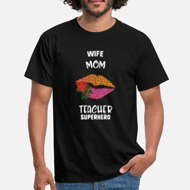 Kissing Lips Wife Mom Teacher Superhero Lips Kiss Leopard - Men's T-Shirt