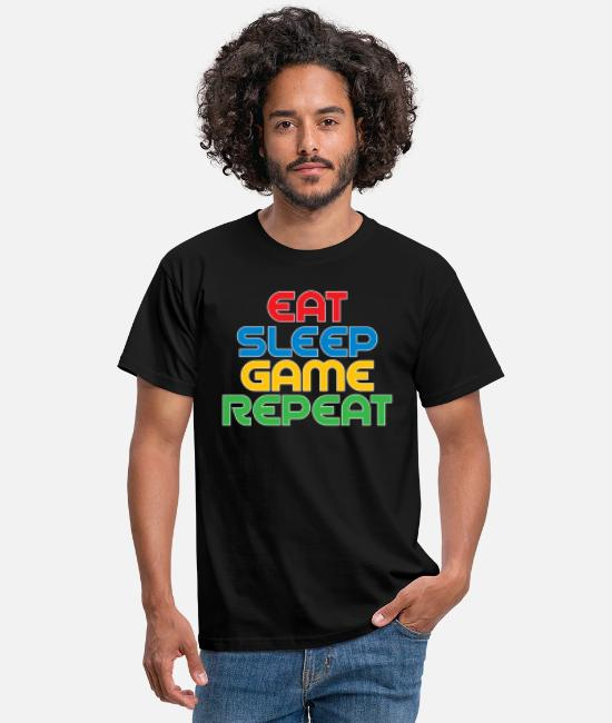 Player T-shirts - Spis Sleep Game Repeat - T-shirt mænd sort