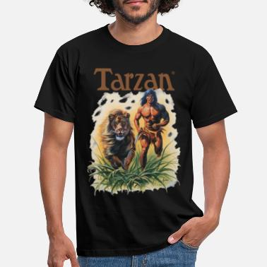 Tarzan Running Lion Through Wilderness - Men's T-Shirt