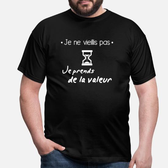 Je Ne Vieillis Pas Idée Cadeau Anniversaire T Shirt Homme Noir