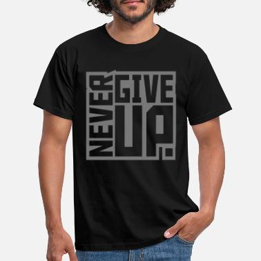 Quit square square text logo never give up cool t - Men's T-Shirt