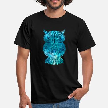 Afgeleid Blauwe uil Nachtuil Eagle Owl Mandala Tatto Gift - Mannen T-shirt
