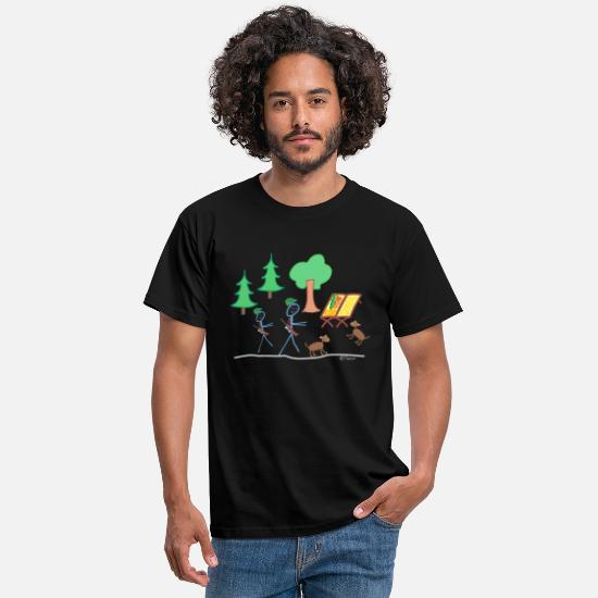 Stag T-Shirts - Hunter stickman forest nature stalk deer - Men's T-Shirt black