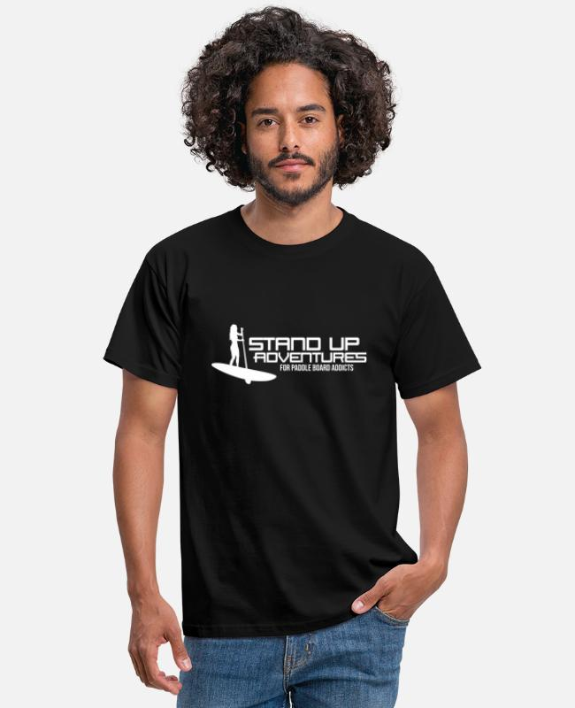 Sup Board T-shirts - Stand Up Adventures - For paddle board addicts - Mannen T-shirt zwart
