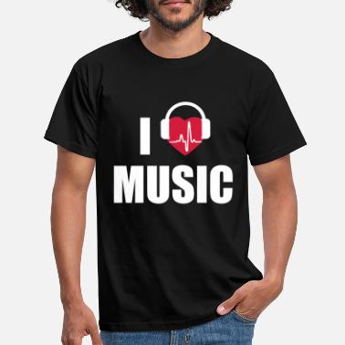 I Love Music I love music headphone - Männer T-Shirt