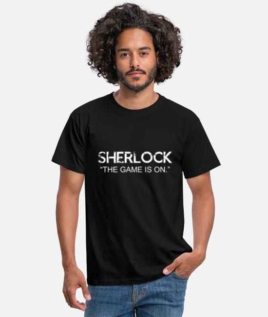 Sherlock T-Shirts - SHERLOCK THE GAME IS ON - Men's T-Shirt black