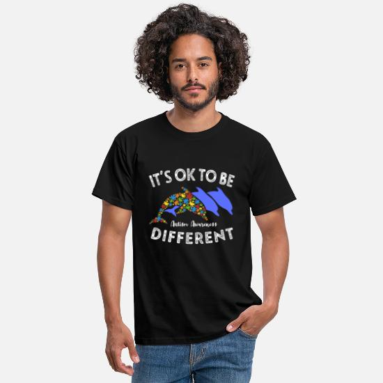 Different T-Shirts - Its Ok To Be Different Dolphin Autism Awareness - Men's T-Shirt black