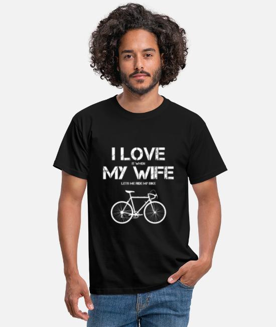 Gift T-shirts - I Love My Wife Funny Bicycle Heren Quote - Mannen T-shirt zwart