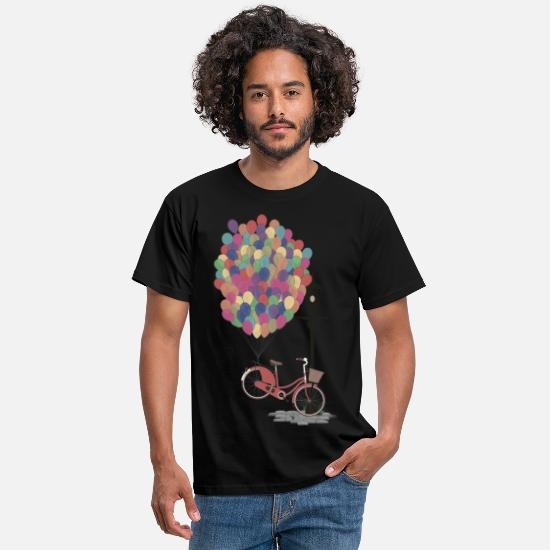 Spring T-Shirts - Love to Ride my Bike with Balloons - Men's T-Shirt black