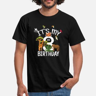 Third It's My 3rd Birthday Boy Zoo Theme 3 Years Old - Men's T-Shirt