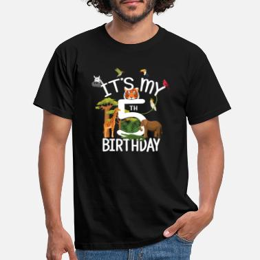 Tema It's My 5th Birthday Boy Zoo Theme 5 Years Old - T-shirt herr