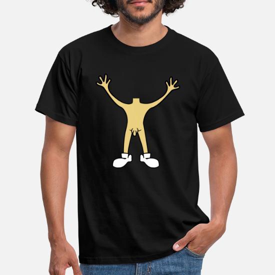 mannlige penis nakenhender holder opp kroppen o T skjorte