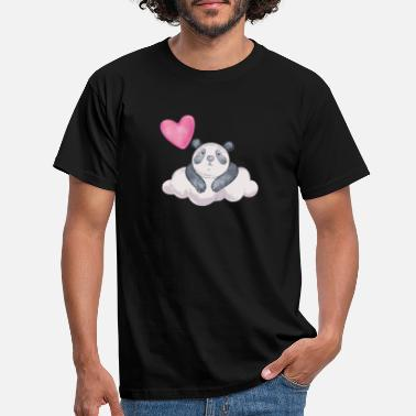 Lovely Panda bear heart love Sad cloud gift - Men's T-Shirt