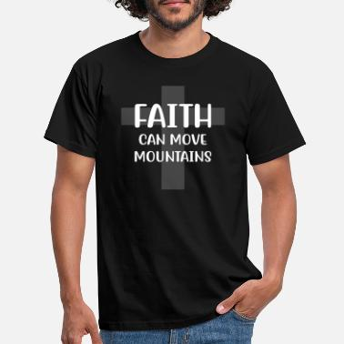 Breast Cancer Ribbon Faith can move mountains - Men's T-Shirt