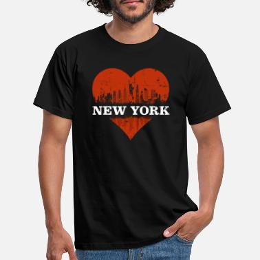 Love New York Skyline Heart I love NY Statue de la Liberté - T-shirt Homme