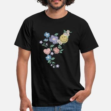 Smyly Smiley World Flower Pattern Illustration - T-shirt herr