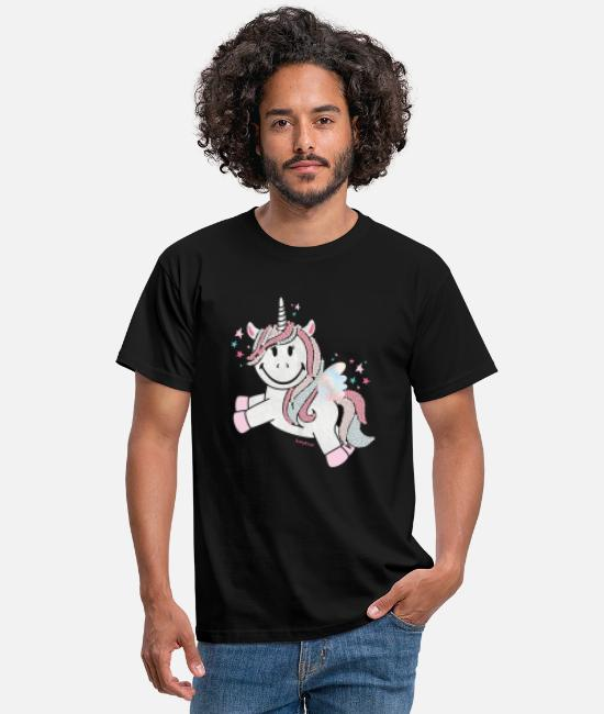 Glitter T-shirts - SmileyWorld Unicorn - T-shirt herr svart