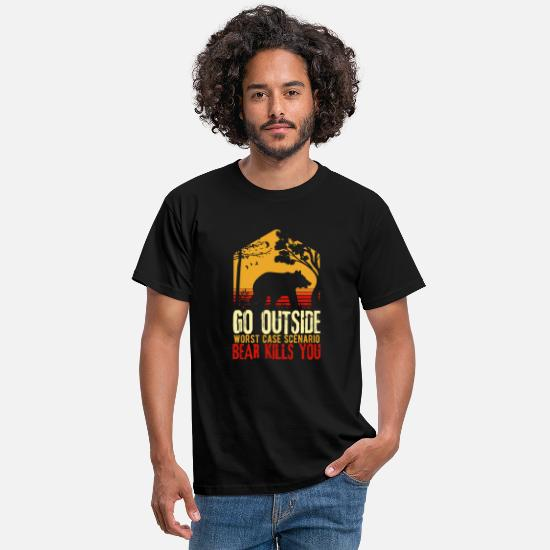 Worst Magliette - Camping Bear Tee, Go Outside Worst Case A Bear - Maglietta uomo nero