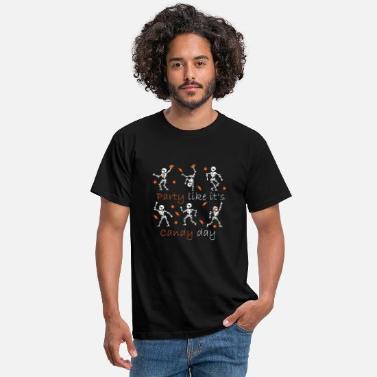 Dancing T-Shirts - Skeleton Party Like It's Candy Day - Men's T-Shirt black