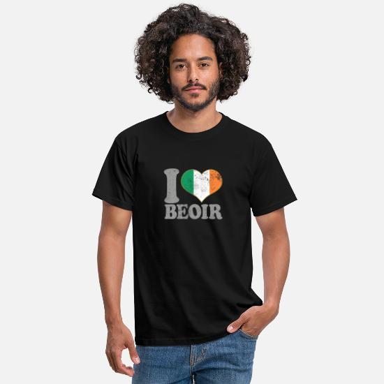 Camping T-Shirts - I Love Beoir Ireland Irish Flag Pride Beer - Men's T-Shirt black