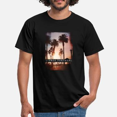 Boys Sunset Palm Tree Lisbon Beach Souvenir - T-skjorte for menn