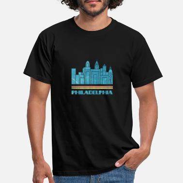 For Kids Philadelphia City Skyline Retro Cityscape 70s 80s - Men's T-Shirt