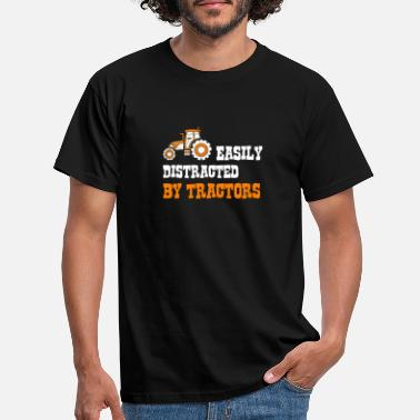 Distracted Easily Distracted By Tractors Farmer Farm Gift - Men's T-Shirt