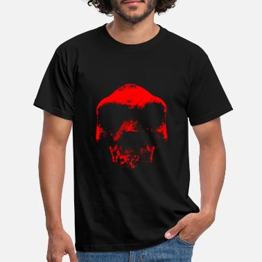 Primitive Stone Age prehistoric man skull RED - Men's T-Shirt