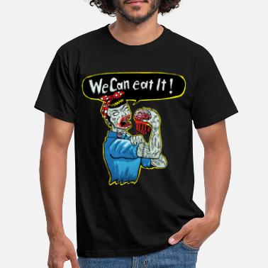 Grappige we can eat it - zombie woman - Mannen T-shirt