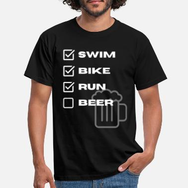 Swim Bike Run Beer Triathlon Icon Design - Men's T-Shirt
