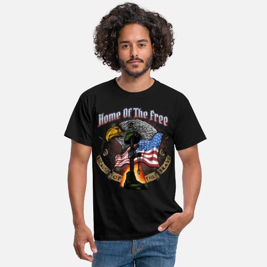Symbols T-Shirts - Land of the Free Because of the Brave Fourth July - Men's T-Shirt black