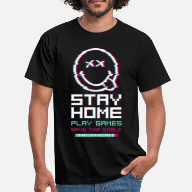 SmileyWorld Stay Home Speel games - Mannen T-shirt