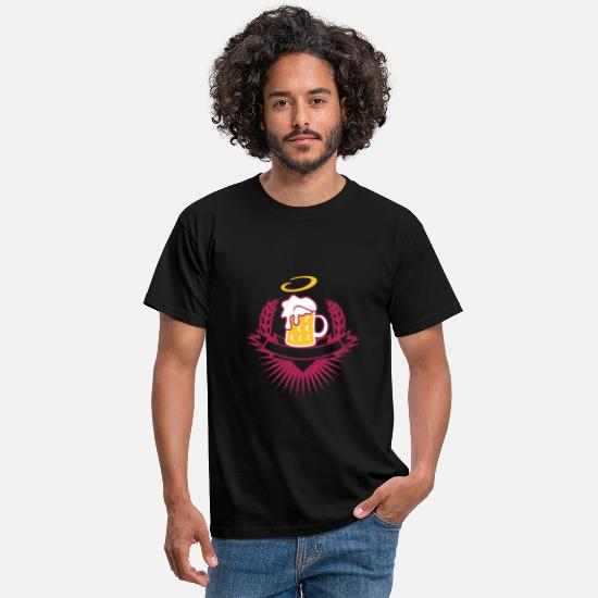 Alcohol T-Shirts - beer in a beer mug with ears of wheat and halo - Men's T-Shirt black
