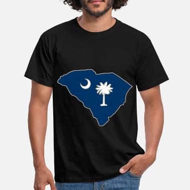 Carolina South Carolina flagga karta - T-shirt herr