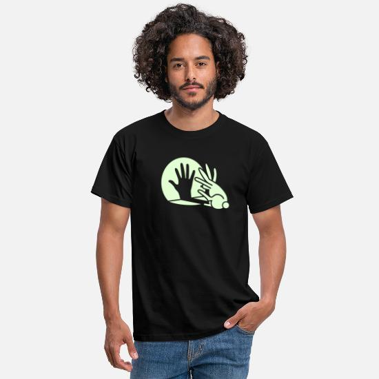 Grappige T-shirts - Rabbit Hand Shadows Glow in the dark - Mannen T-shirt zwart