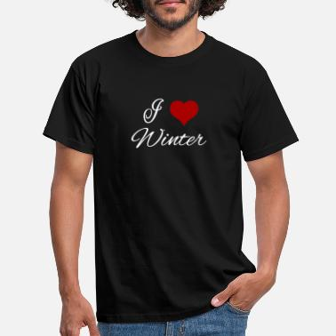 Wintermantel I Love Winter Herz - Männer T-Shirt