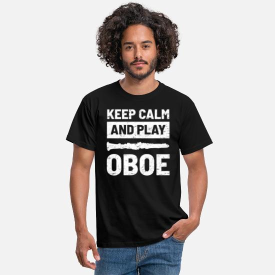 Play T-Shirts - Oboe Musical Music Teacher - Men's T-Shirt black