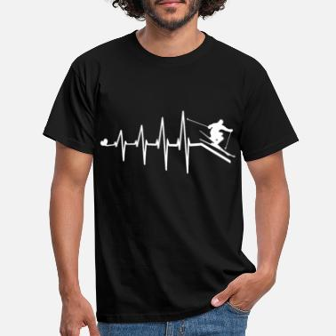 Heart Heartbeat heart rate skier skiing skiing - Men's T-Shirt