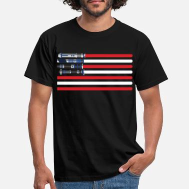 Lightsaber Lightsabers USA flag - Men's T-Shirt