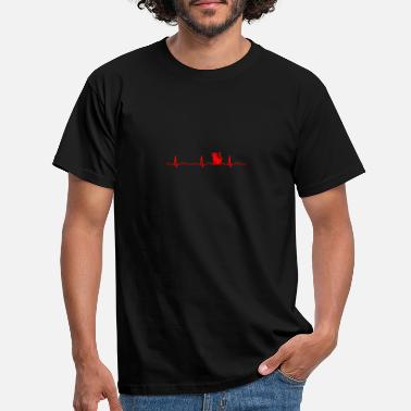 Pulse ECG HEARTBEAT Red - Men's T-Shirt