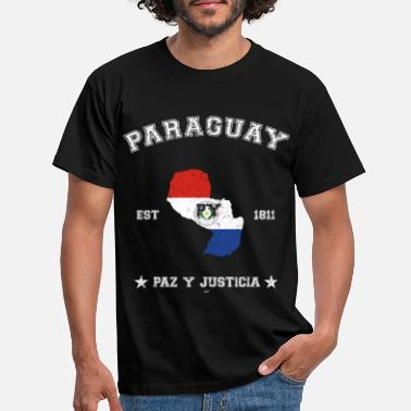 Paraguay vintage map with date of founding - Männer T-Shirt
