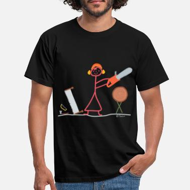 Saw Chain saw stick figure wood craft tree job - Men's T-Shirt