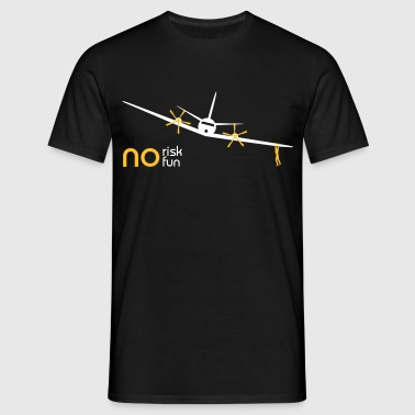 no risk no fun flygplan  - T-shirt herr