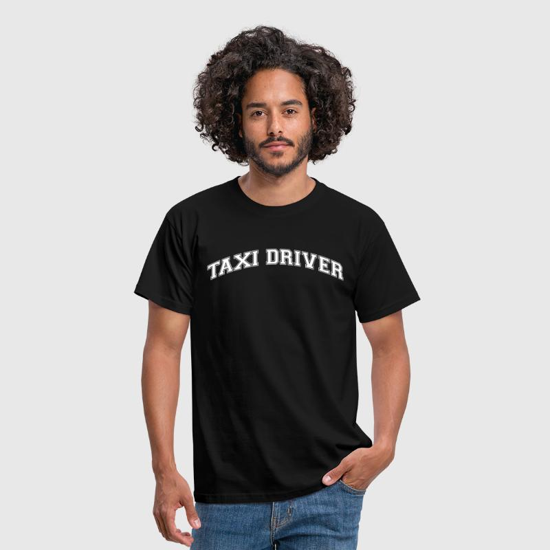 taxi driver college style curved logo - Men's T-Shirt