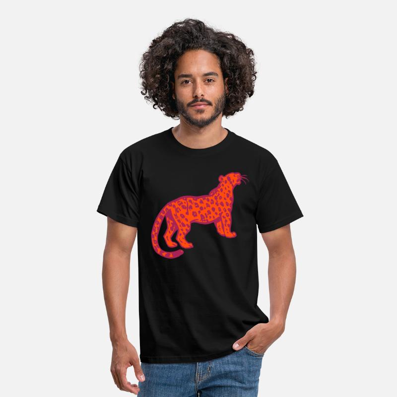 Leopard T-Shirts - Curious Leopard by Cheerful Madness!! - Men's T-Shirt black