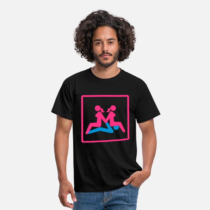 Sex T-Shirts - Kamasutra - Menage a Trois (FMF) - Men's T-Shirt black